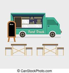 jogo, alimento, ilustração, vetorial, caminhão, tabela