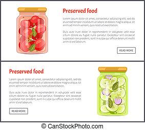 jogo, alimento, ilustração, vetorial, preservado, tomates