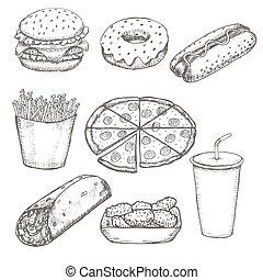 jogo, alimento, menu, rapidamente, mão, vetorial, desenho, desenhado