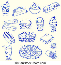 jogo, alimento, rapidamente, mão, desenhado, ícone