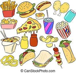 jogo, alimento, rapidamente, mão, desenhado, doodles, adesivos