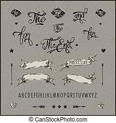 jogo, alphabet., vindima, seta, hipster, fita