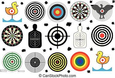 jogo, alvo, bala, gama, buracos, vetorial, tiroteio