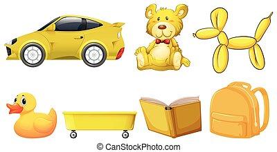 jogo, amarela, objetos