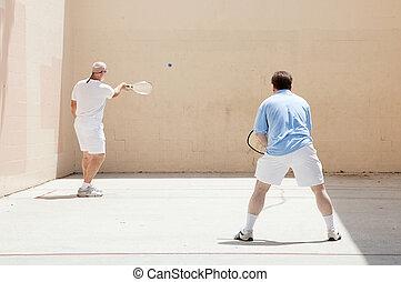 jogo, amigável, racquetball