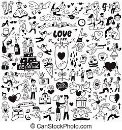jogo, amor, -, casório, doodles, dia