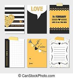 jogo, Amor, Ouro, valentine,  -, Dia, vetorial, casório, convite, Cartões, brilhar