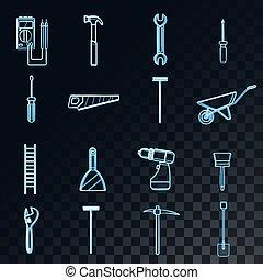 jogo, ancinho, abstratos, néon, bonde, escova, pickaxe, azul, grande, jardim, ícones, glowing, serra, tools:, ladder., pá, martelo, espátula, esfregão, chave fenda, vetorial, encanamento, construção, reparar