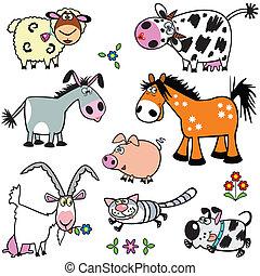jogo, animais, caricatura, fazenda