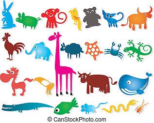 jogo, animais, cartoony