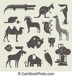 jogo, animais