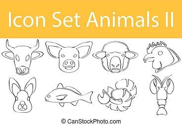 jogo, animais, doodle, ii, desenhado, alinhado, ícone