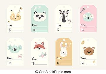jogo, animais, etiquetas, grande, etiquetas, mão, desenhado