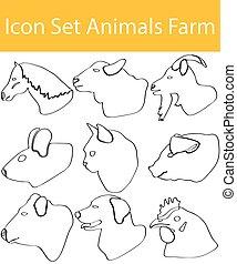 jogo, animais, fazenda, doodle, desenhado, alinhado, ícone