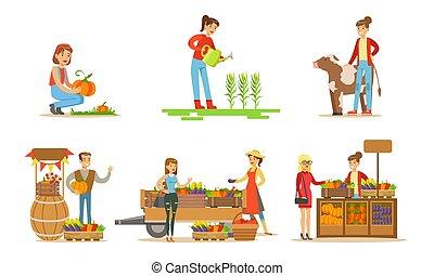 jogo, animais, ilustração, ou, vetorial, fazenda, importar-se, colher, mulheres, plantas, agricultores, vender, aguando, orgânica, legumes, homens, jardim mercado, colheitas, trabalhando