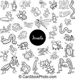 jogo, animais, insetos, caricatura, tinja livro