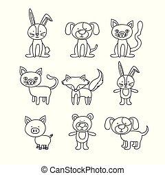 jogo, animais, mão, fundo, desenhado, branca