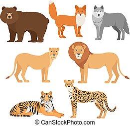 jogo, animais, raposa, isolado, urso, tiger, leão, lobo, chita, predatório