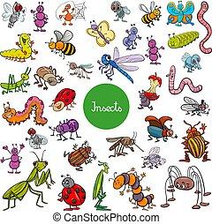 jogo, animal, insetos, grande, caráteres, caricatura