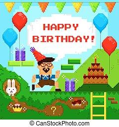 jogo, aniversário, pixel, cartão