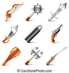 jogo, antigas, ícones, armas, vetorial, jogos
