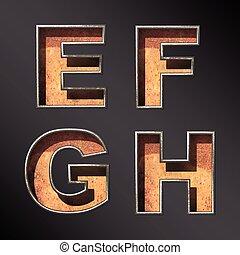 jogo, antigas, alfabeto, metal, vetorial, letras