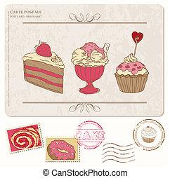 jogo, antigas, cartão postal, -, selos, cupcakes, desenho, scrapbooking