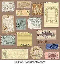 jogo, antigas, damasco, vindima, papel, vetorial, bordas, elementos