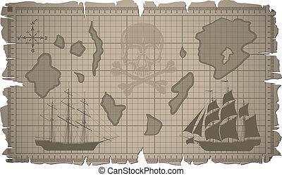 jogo, antigas, vector., map., papel, folhas