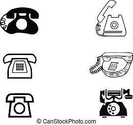 jogo, antigas, vindima, ilustração, experiência., vetorial, retro, telefones, branca