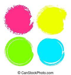 jogo, anunciando, coloridos, círculos, manchas, fundos, isolado, texto, mão, experiência., vetorial, ilustração, desenhado, branca, negócio, promotion.