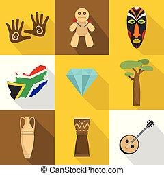 jogo, apartamento, estilo, áfrica, ícones