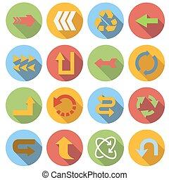 jogo, apartamento, estilo, ícone seta