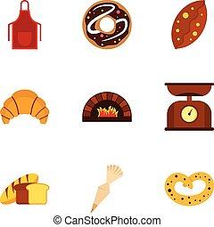 jogo, apartamento, estilo, assando, ícones