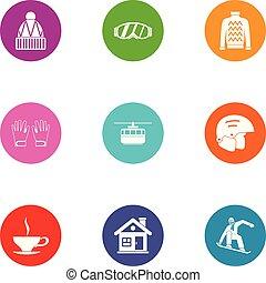 jogo, apartamento, estilo, clammy, ícones
