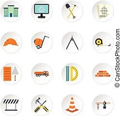 jogo, apartamento, estilo, construção, ícones