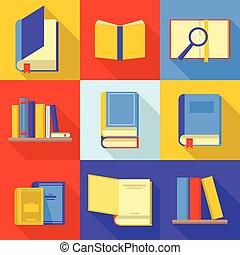 jogo, apartamento, estilo, livro, ícones