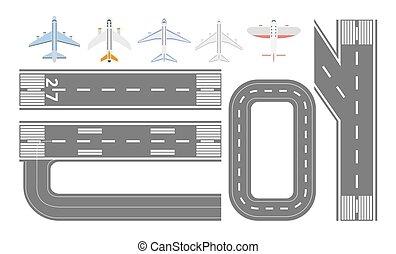 jogo, apartamento, -, isolado, aeroporto, cobrança, pista, tipos, pista decolagem, avião
