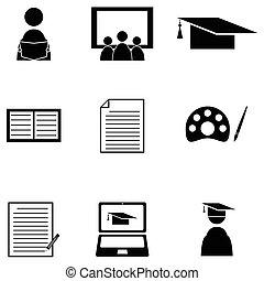 jogo, aprendizagem, ícone