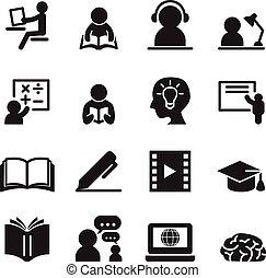 jogo, aprendizagem, ícones