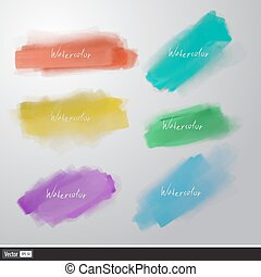 jogo, aquarela, vetorial, splatters., artisticos, brush.