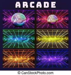 jogo, arcada, cobrança, vetorial, fundo, galáxia