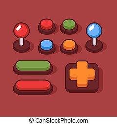 jogo, arcada, coloridos, machine., joysticks, botões, vetorial
