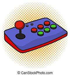 jogo arcade, isolado, experiência., controlador, joystick, branca