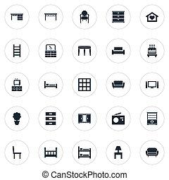 jogo, armário, simples, synonyms, kitchen., icons., três,...