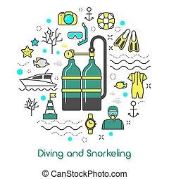 jogo, arte, ícones, equipamento, vetorial, magra, mergulhar, linha, scuba, snorkeling
