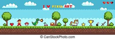 jogo, arte, arcada, personagem, jogo, pixel, estilo