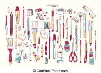 jogo, arte, -, escova, utilidade, utensils., isolado, escrita, papelaria, desenhado, branca, lápis, pacote, mão, fundo, materiais, faca, illustration., sharpener., marcador, vetorial, caneta, ou