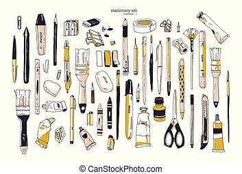 jogo, arte, escritório, -, escova, utensils., isolado, escrita, pintura, papelaria, desenhado, branca, borracha, lápis, cobrança, mão, fundo, materiais, illustration., sharpener., marcador, vetorial, caneta, ou