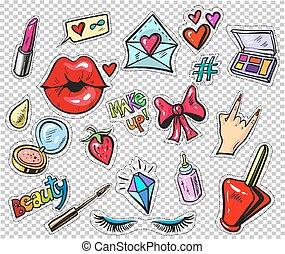 jogo, arte, remendos, alfinetes, estouro, style., 80s-90s, moda, adesivos, cômico, caricatura